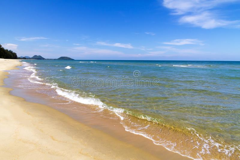 Beach Ban Krut Beach and wave in summer. At Prachuap Khirikhun Province, Thailand is famous for travel royalty free stock image
