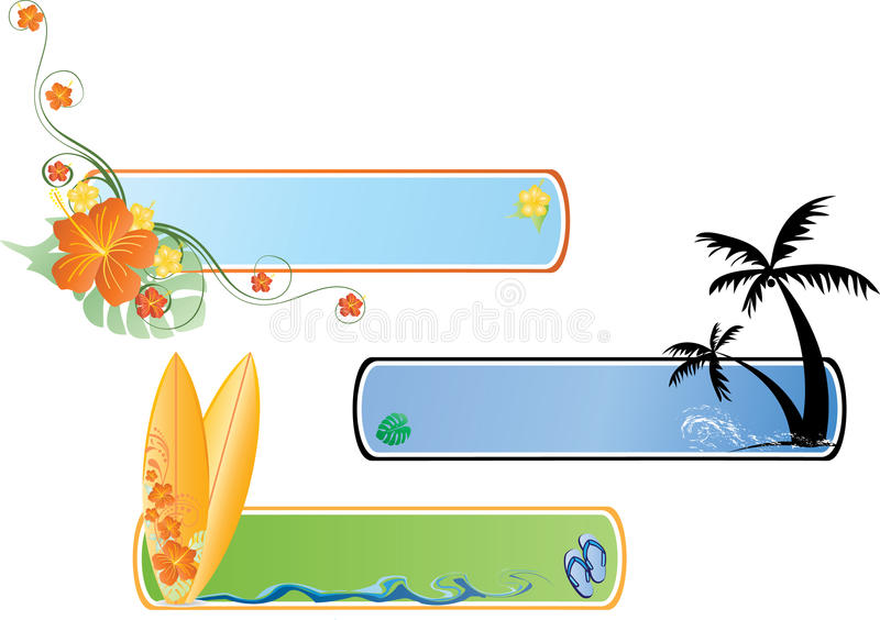 Download Beach Banner stock vector. Image of green, leaves, banner - 10489143