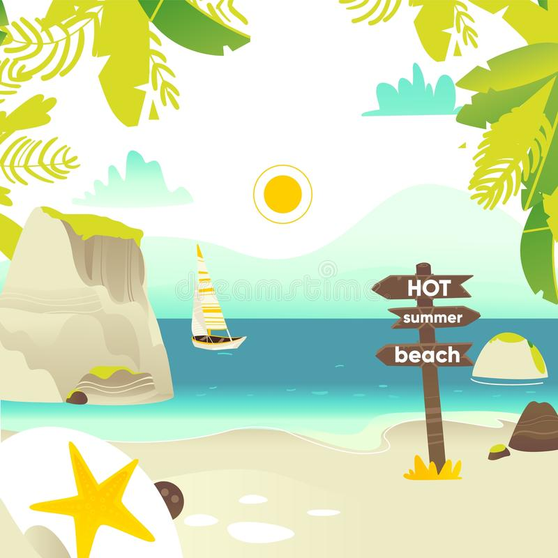 Beach banner with rocks, yacht and wooden sign vector illustration