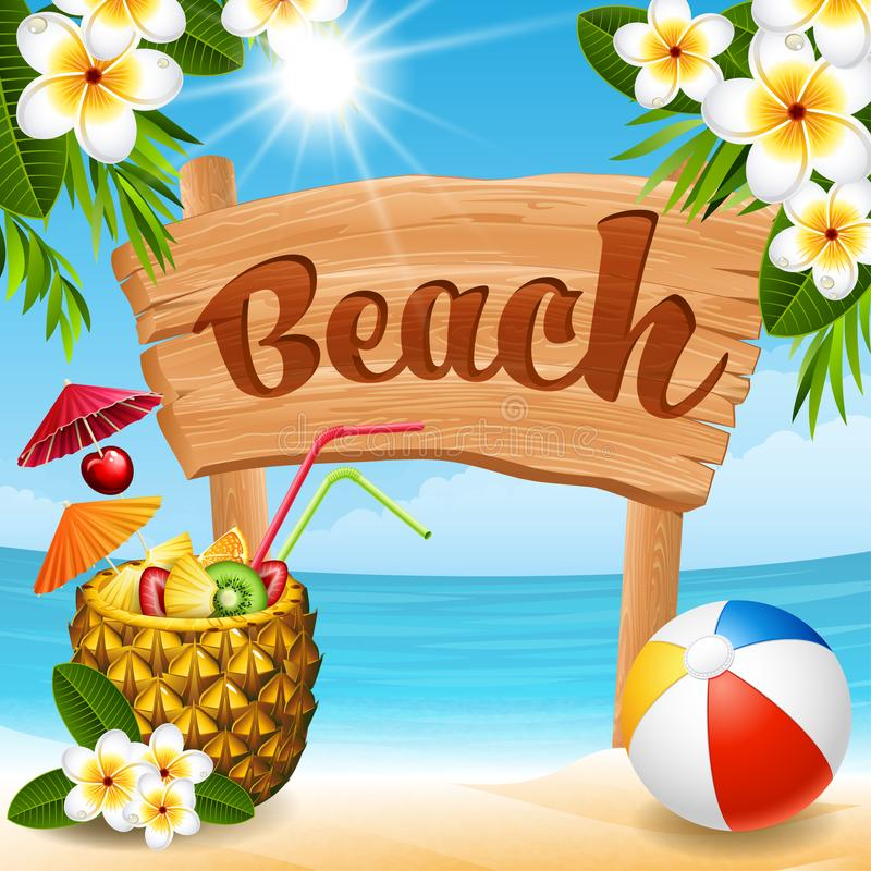 Beach banner vector illustration