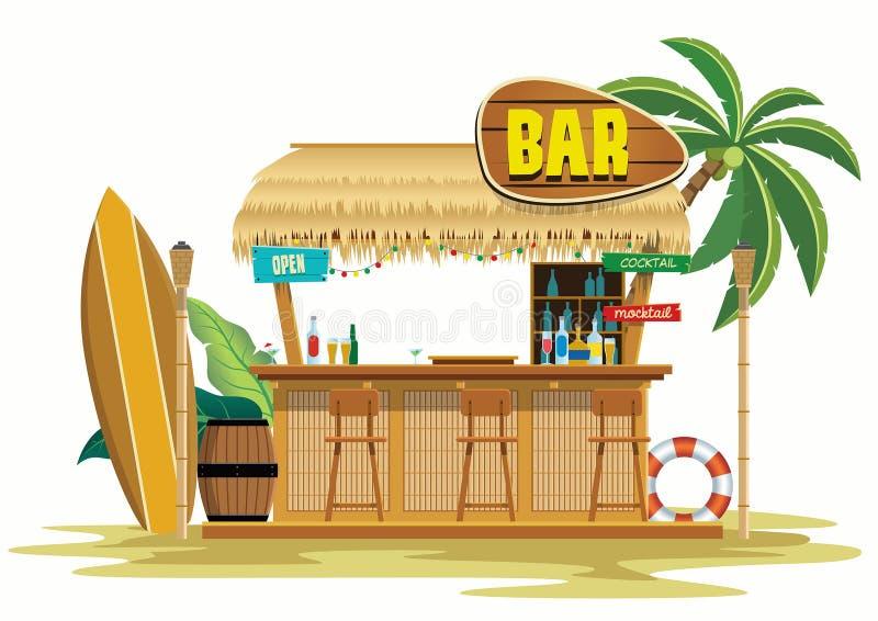 Tropical beach bar on the beach. Vector of tropical beach bar on the beach stock illustration