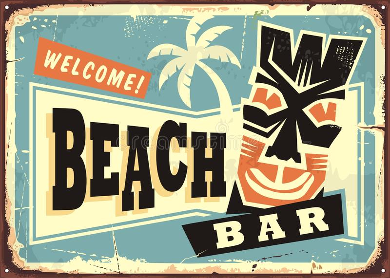 Beach bar advertising with Hawaii tiki mask. And palm tree. Retro commercial sign for summer party cafe vector illustration