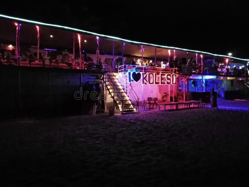 Beach bar in Ashvem by night. Goa, India. Ashvem Mandrem Pernem road in the evening. Koleso beach bar. Goa, India royalty free stock photography