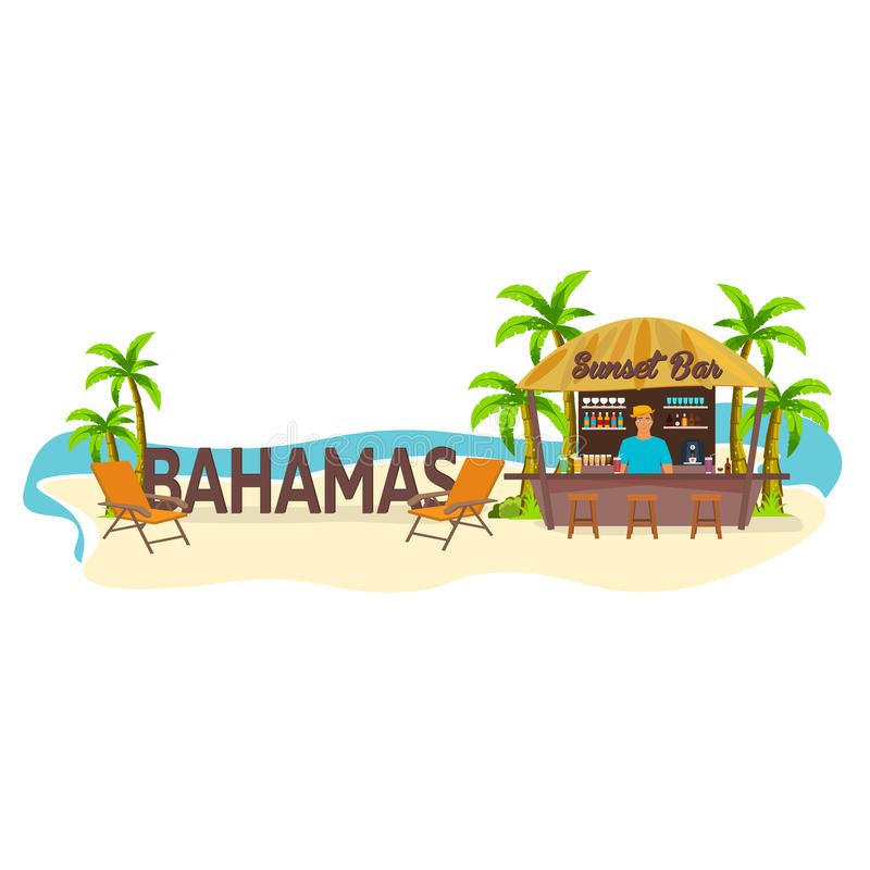 Beach Bar. Bahamas. Travel. Palm, drink, summer, lounge chair, tropical. stock illustration