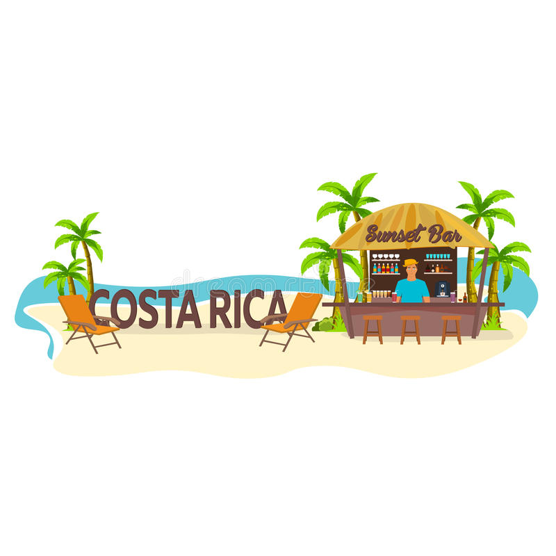 Beach Bar. Costa Rica. Travel. Palm, drink, summer, lounge chair, tropical. stock illustration