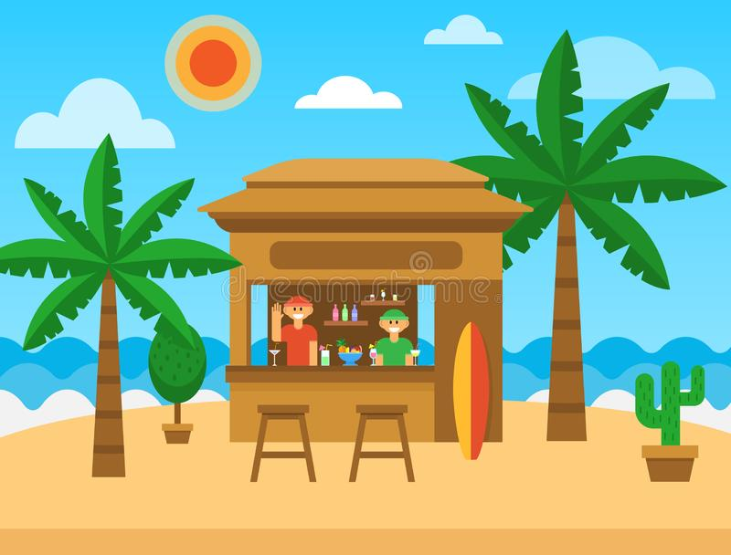 Beach bar. Exotic summer restaurant on sea coast. Beach bar with cocktails, fruit shakes, alcohol drinks. Summer party vector illustration