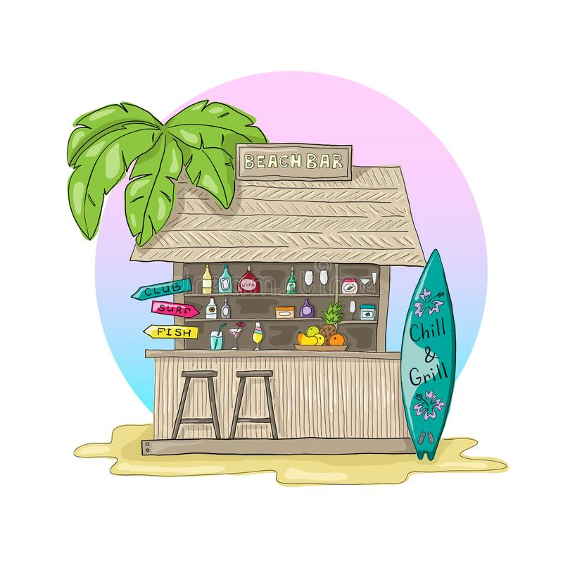 Beach bar with palm tree and sunset. With cocktails and surf Board. Wooden beach bar with palm tree and sunset. With cocktails and surf Board royalty free illustration