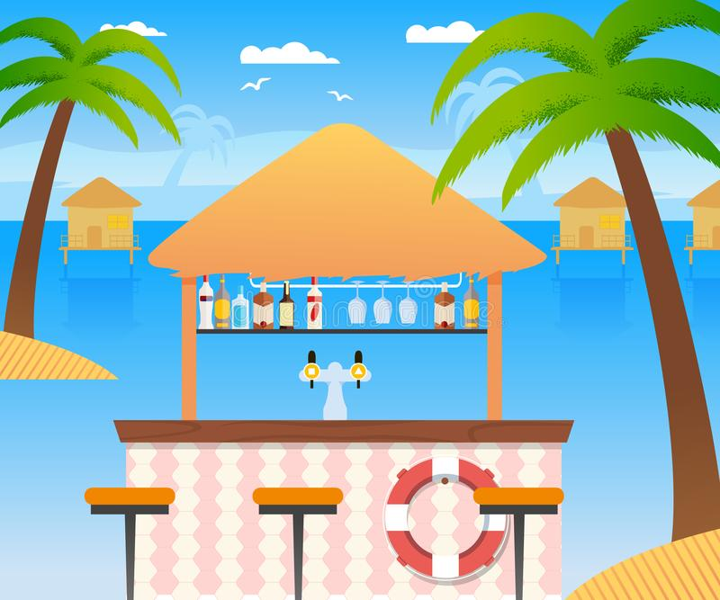 Beach Bar with Selling Cold Alcohol Drinks, Water royalty free illustration