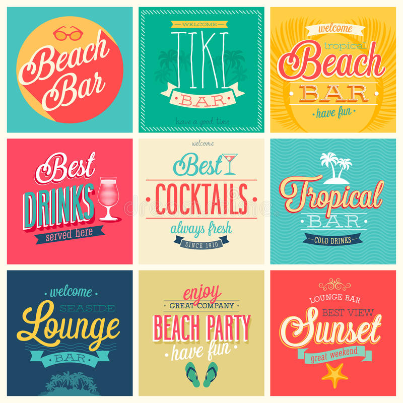 Beach Bar set. Labels, emblems and other decorative elements