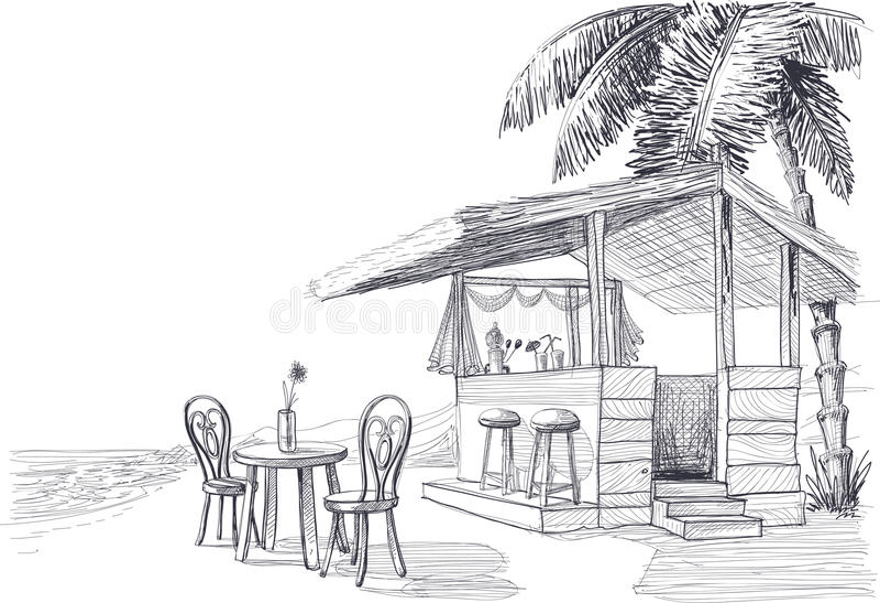 Beach bar sketch vector illustration