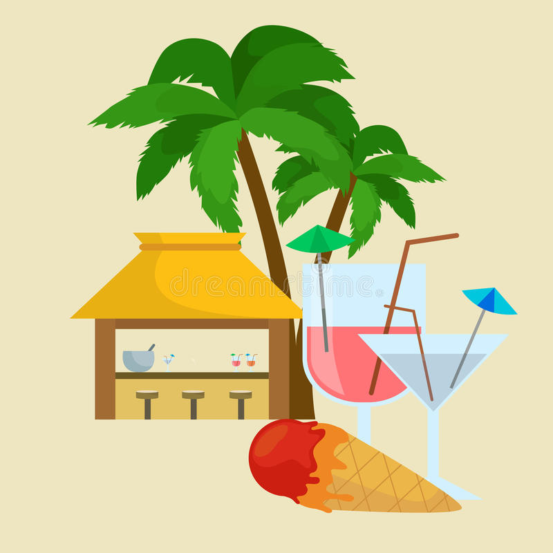 Beach bar. Summer tropical under the palm tree with ice cream and cockteils, drinks in vocation. Relax in traveling on. Beach bar. Summer tropical bar under the stock illustration