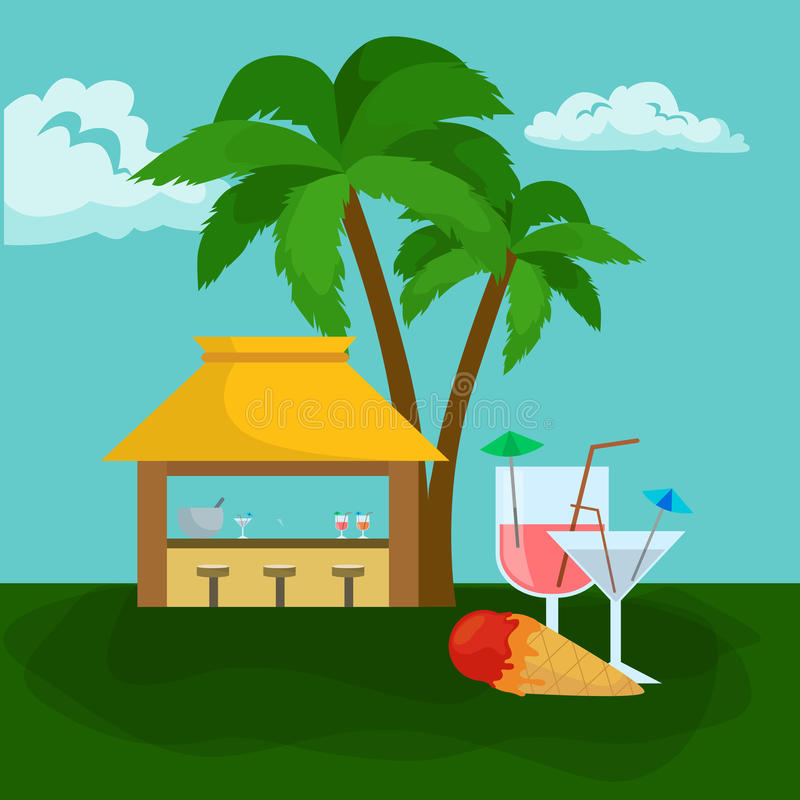 Beach bar. Summer tropical under the palm tree with ice cream and cockteils, drinks in vocation. Relax in traveling on. Beach bar. Summer tropical bar under the vector illustration
