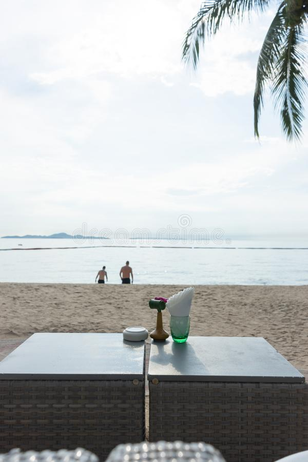 Beach bar with tropical fruits.The best moment at Pattaya, Thailand. Beach bar with tropical fruits. best moment at Pattaya, Thailand stock images