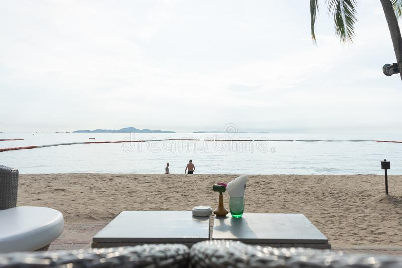 Beach bar with tropical fruits.The best moment at Pattaya, Thailand. Beach bar with tropical fruits. best moment at Pattaya, Thailand royalty free stock image