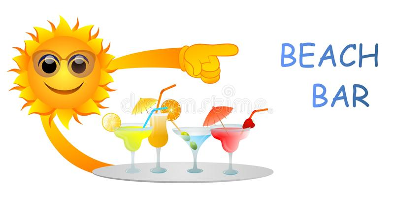 Beach bar. Vector illustration of sun with plate full of cocktails pointing at beach bar sign vector illustration