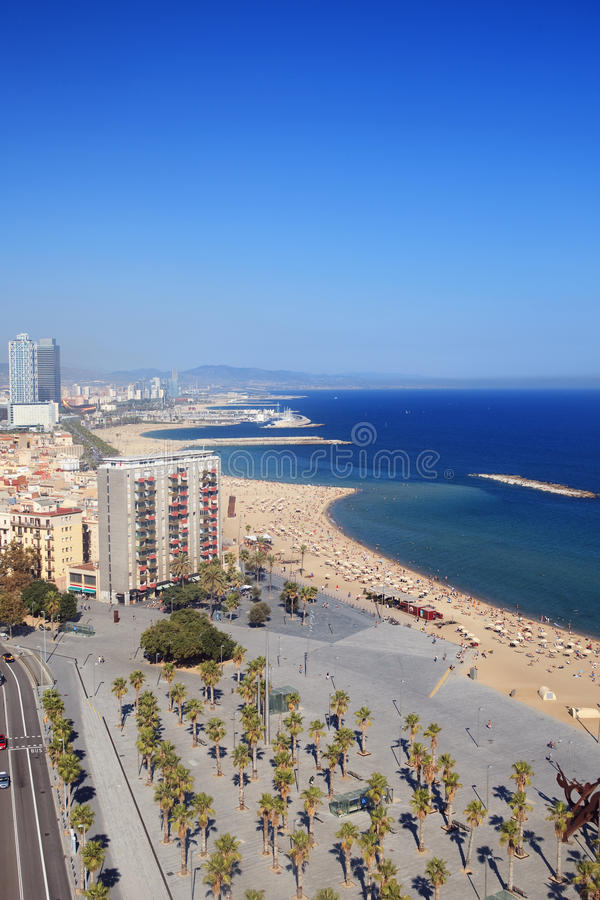 Beach of Barcelona. Barceloneta district and beach of Barcelona, Spain royalty free stock images