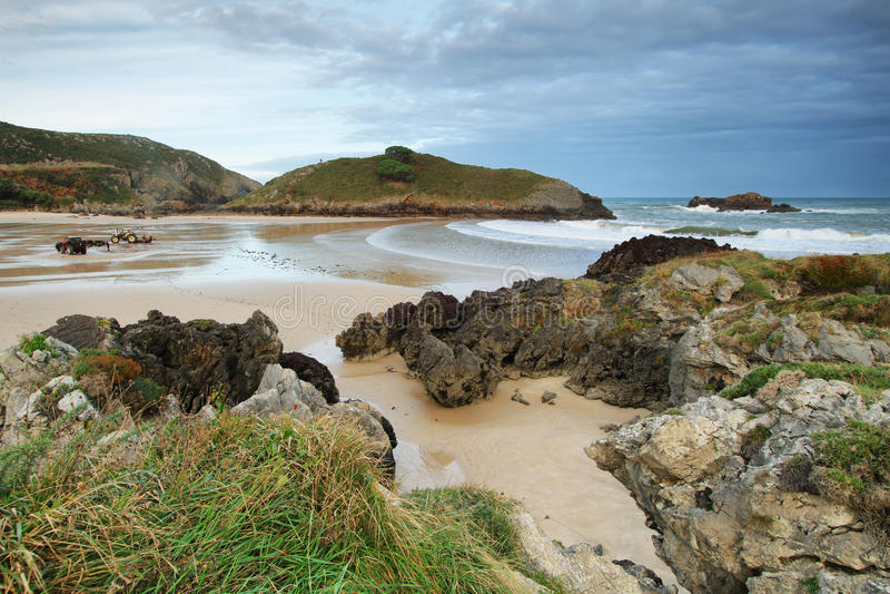 Beach of Barro near Llanes village. Landscape in beach of Barro near Llanes village, Asturias, Spain stock photography