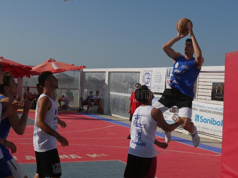 Beach Basket 3x3 2018 – Under Qualification. Under athletes playing in Beach Basket 3x3 qualification match - Beach Basket 3x3 Under Tournament - Kursaal stock images