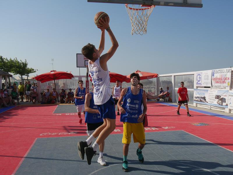 Beach Basket 3x3 2018 – Under Qualification. Under athletes playing in Beach Basket 3x3 qualification match - Beach Basket 3x3 Under Tournament - Kursaal stock photography