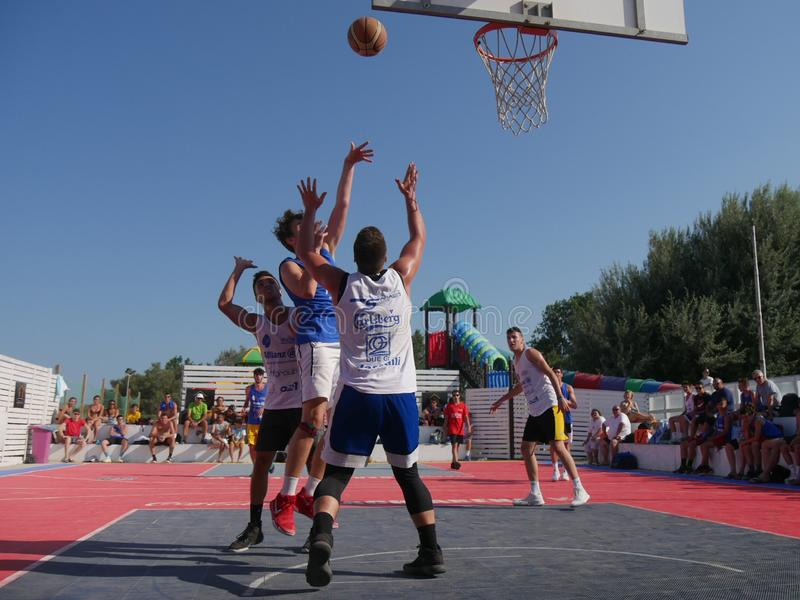 Beach Basket 3x3 2018 – Under Qualification. Under athletes playing in Beach Basket 3x3 qualification match - Beach Basket 3x3 Under Tournament - Kursaal royalty free stock photo