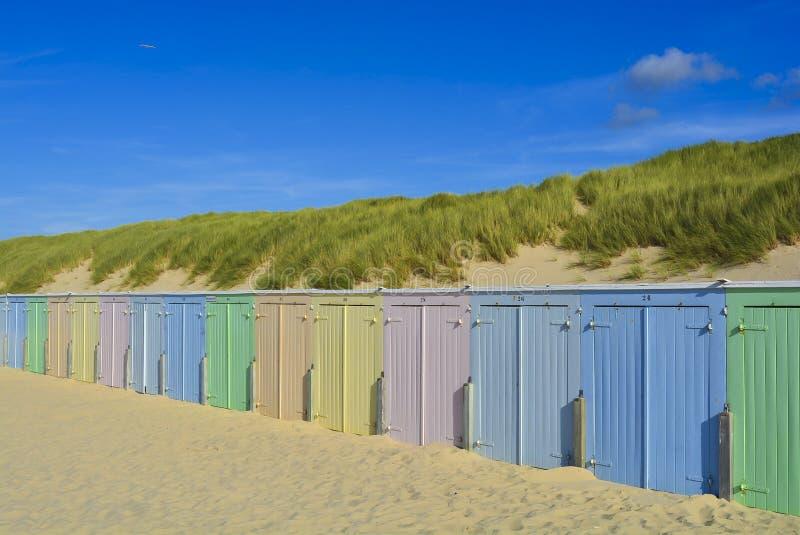 Beach basket beach house beach houses on dune colorful stock photos