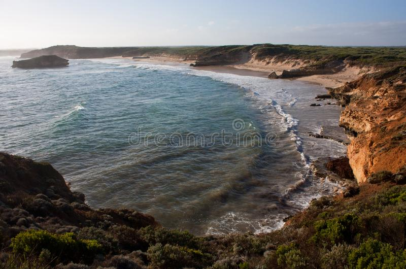 The beach at the Bay of Martyrs on the Great Ocean Road in Australia. The beach at the Bay of Martyrs on the Great Ocean Road in Victoria in Australia, pacific stock photography