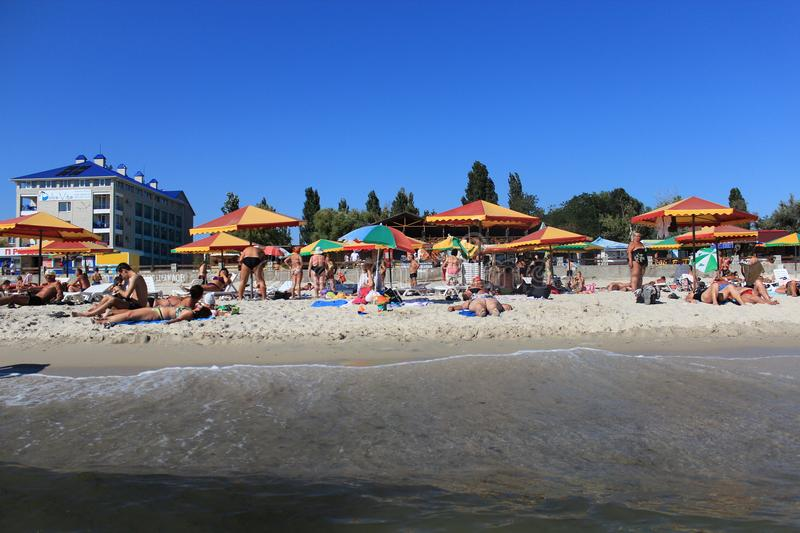 Beach on the beach, rest. City Beach. Cote d`Azur. Sea coast. Rest on the Black Sea royalty free stock photo