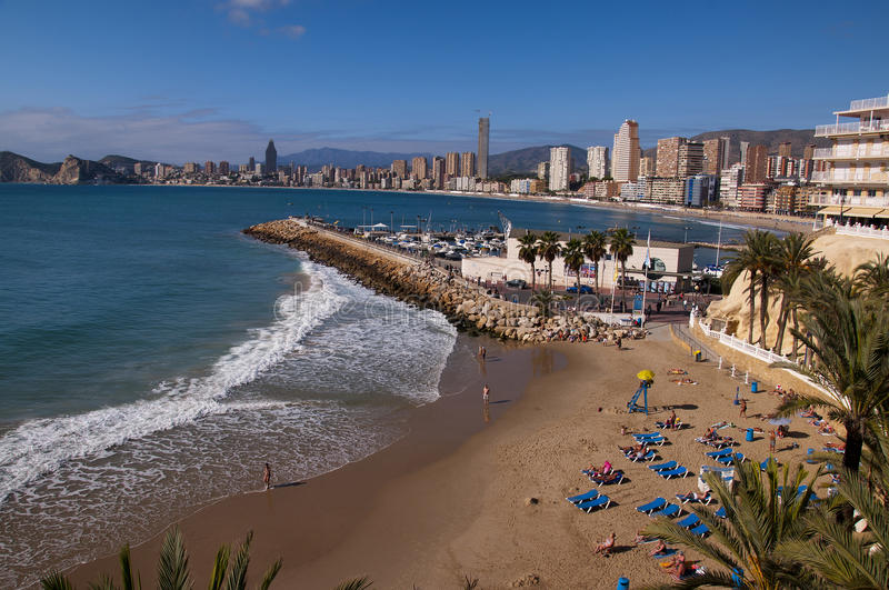 Beach in Benidorm Spain. Benidorm is famous for its very clean beaches an shallow sea royalty free stock photos