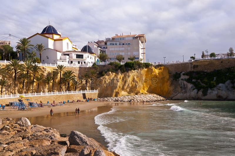 Beach in Benidorm Spain. Benidorm is famous for its very clean beaches an shallow sea stock photos