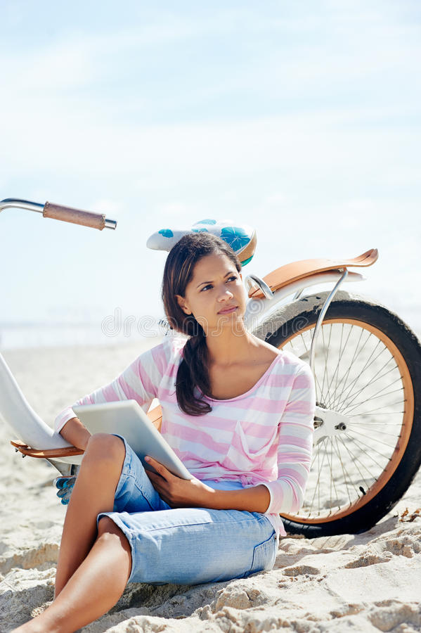 Download Beach bicycle tablet woman stock image. Image of holidays - 31057353