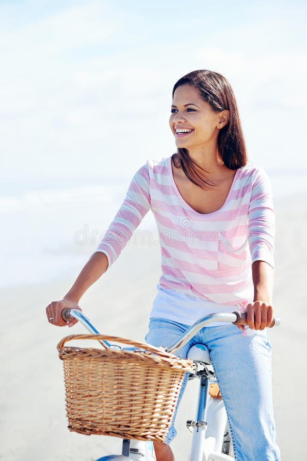Download Beach bicycle woman stock photo. Image of healthy, latino - 30689824
