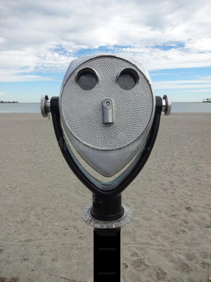 Beach Binocular Viewer. At Silver Sands Beach in Milford, Connecticut, USA royalty free stock image