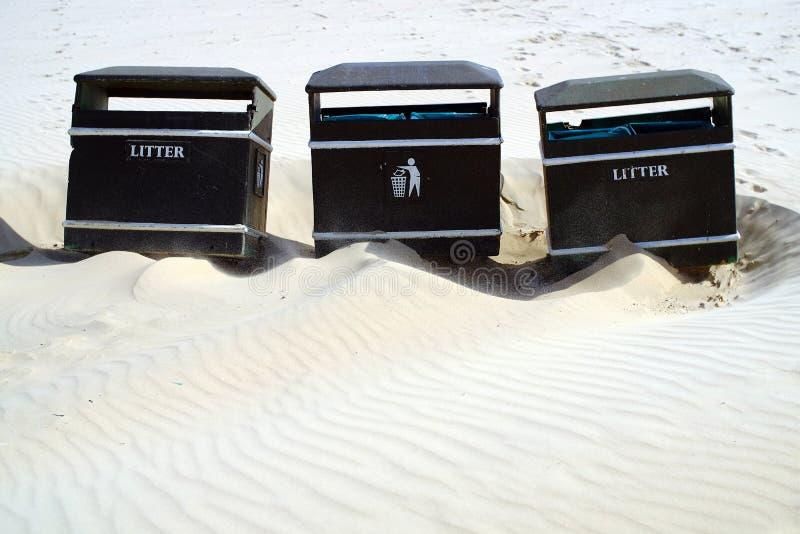 Beach bins royalty free stock photos