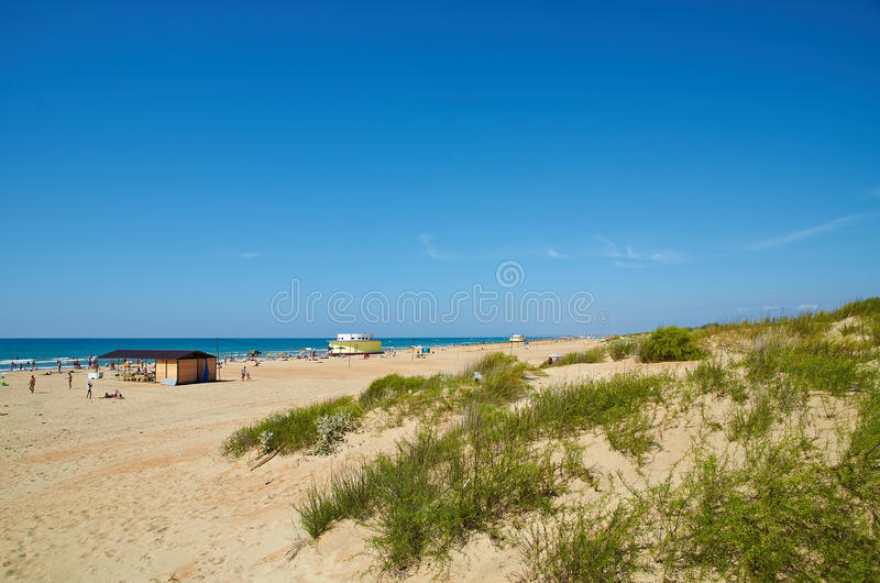 Beach in Black Sea, Anapa, Russia. Beach in Anapa, Russian Federation stock photo