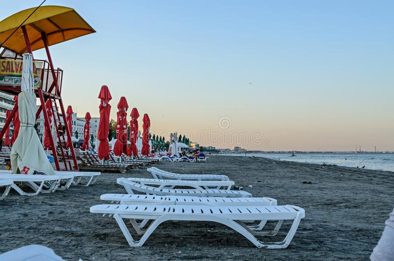 Beach of Black Sea from Mamaia, Romania with golden sands, royalty free stock images