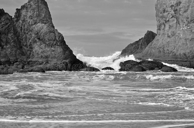 Beach, black and white royalty free stock photo