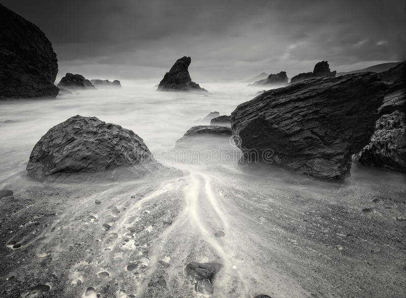 Beach in black and white stock photo