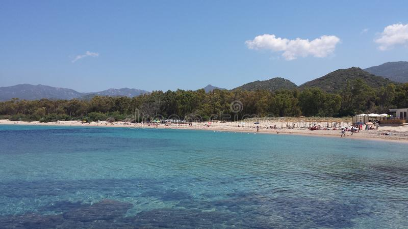 Beach and blue sea colorful Sardinia royalty free stock photography