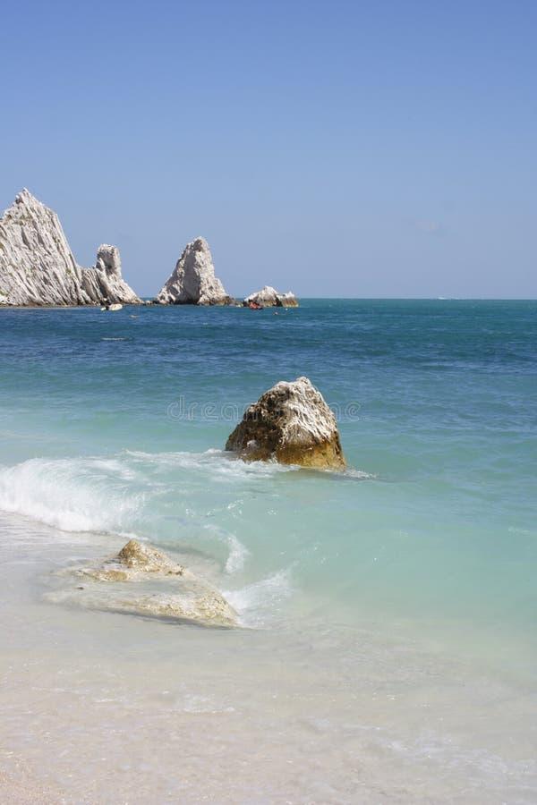 Beach with blue sea, Conero stock photo