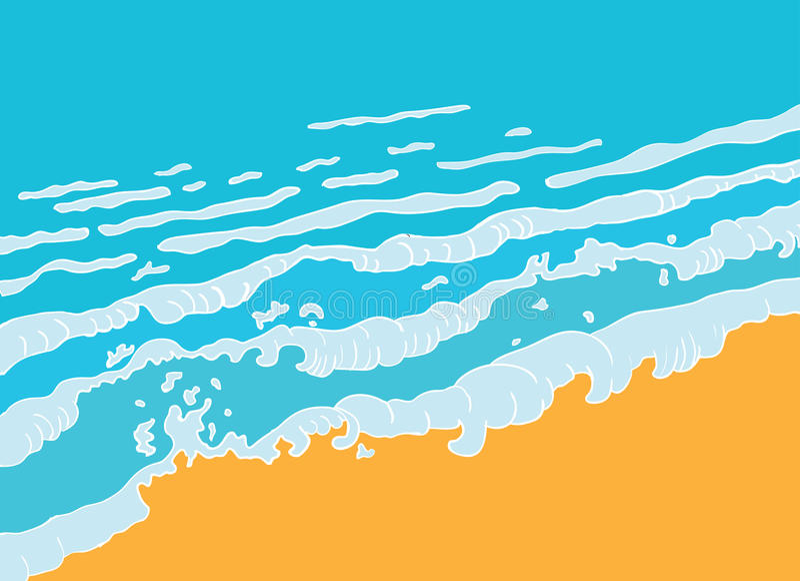 Beach and blue sea wave, vector vector illustration