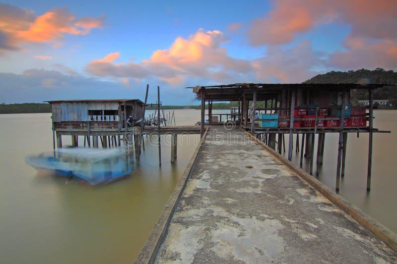 Beach, Boat, Bridge royalty free stock photo
