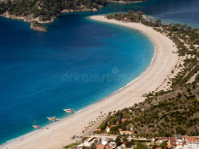 Beach with boats in Turkey. stock image
