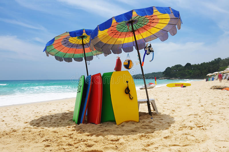 Beach with bodyboards royalty free stock images