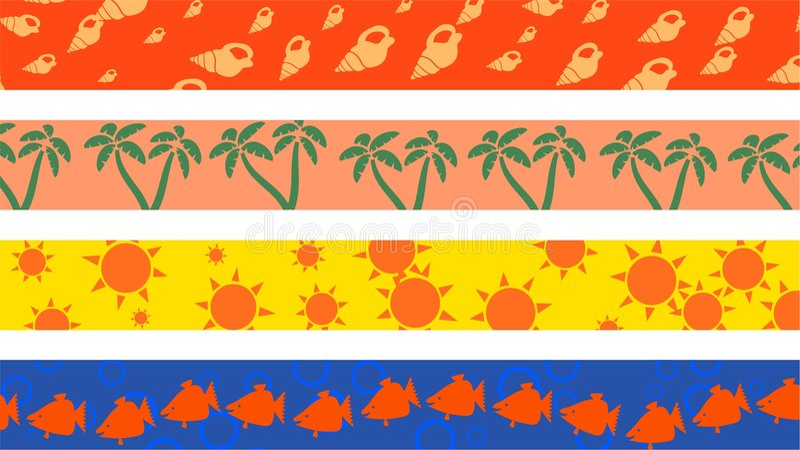 Beach borders royalty free illustration