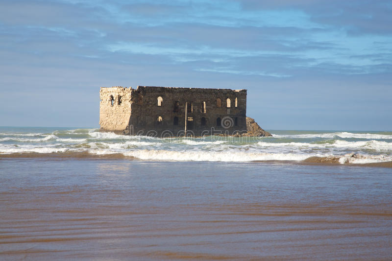 The beach of Boujdour. Old building on the beach of Boujdour, the city of Antoine de Saint-Exupery royalty free stock photo