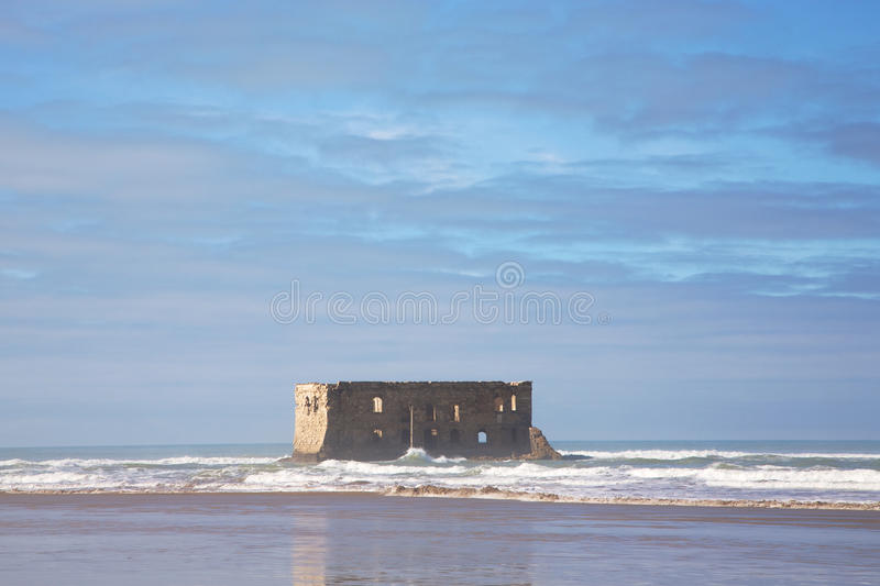 The beach of Boujdour. Old building on the beach of Boujdour, the city of Antoine de Saint-Exupery stock photo