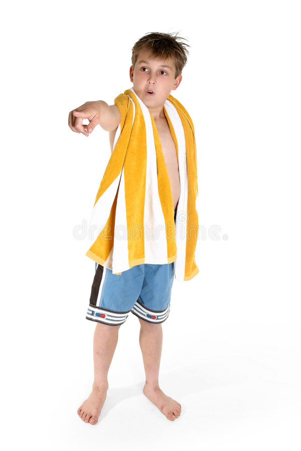 Beach boy pointing stock images