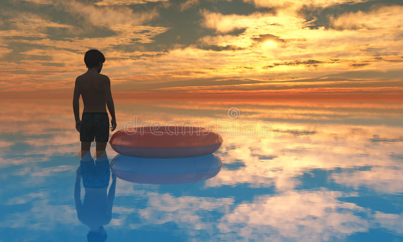 Download Beach Boy Sunset A1 stock illustration. Image of children - 27410858