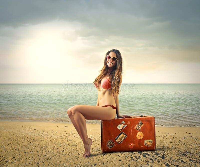 beach bright contexts faces joyful pictures smiling suitable themes royaltyfri bild