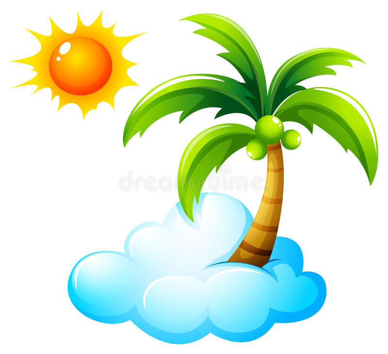 A beach with a bright sun royalty free illustration